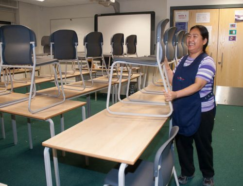 School cleaning classroom