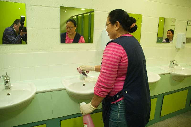 School cleaning toilets